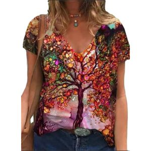 Damen Sommer Kurzarm T-Shirts Blumendruck Top Loose Casual Bluse,rot,3XL