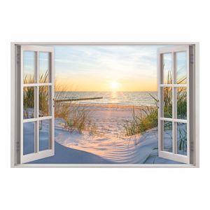 153 Wandtattoo Fenster - Ostseestrand Maritim : Größe - 1000 x 670 mm