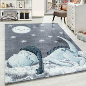 Kinderteppich Kinderzimmer Teppich süßer Dino Muster Grau Blau Weiß, Farbe:BLAU,160 cm x 230 cm