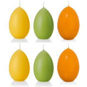 6er Set Eierkerze, Osterei, 6,1 x 4,4 cm, gelb, orange, grün