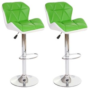 2x Barhocker HWC-A92, Barstuhl Tresenhocker, höhenverstellbar Kunstleder  grün