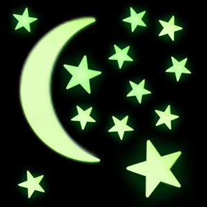 65 x Sternenhimmel Leuchtsterne Leuchtmonde Sterne Monde selbstleuchtend Leuchtsticker Wandtattoo fluoreszierend Leuchtaufkleber mit starker Leuchtkraft Klebepads Schlafzimmer Kinderzimmer
