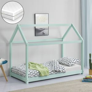 Kinderbett mit Matratze 80x160cm Holz Haus Design Kiefernholz Bett Holzbett Hausbett Kaltschaummatratze  Standard 100 Allergikergeeignet Atmungsaktiv Mint [en.casa]