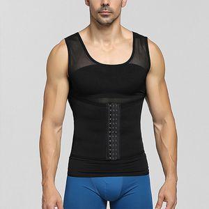 Männer Body Shaper Abnehmen Weste Tank Top Kompressionshemd Bauchkontrolle Unterwäsche,Farbe: Schwarz,Größe:L