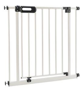 BOMI® Kindertreppen Gitter Merle 83-91 cm | Baby Gitter weiss mit Automatik-Tür | Kindertreppenschutzgitter Tür und Treppenschutzgitter zum Klemmen
