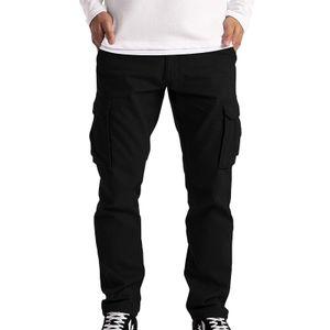 Herren Cargo Hose Work Wear Combat Safety Cargo 6 Pocket Full Pants Größe:XL,Farbe:Schwarz