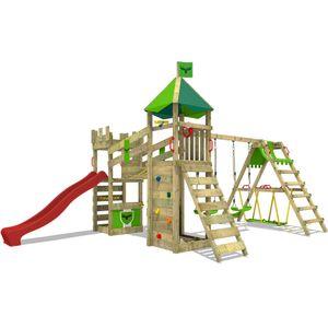 FATMOOSE Spielturm Ritterburg RiverRun mit Schaukel SurfSwing & roter Rutsche, Spielhaus mit Sandkasten, Leiter & Spiel-Zubehör
