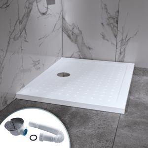 i-flair Duschwanne 80x100 cm, Duschtasse aus Sanitäracryl inkl. Ablaufsiphon