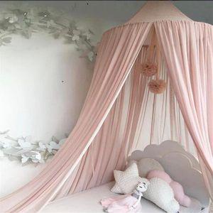Moskitonetz Bett Kinder und Baby Betthimmel Moskitonetz Chiffon süß und romantisch für Kinderzimmer und Schlafzimmer mit Haarball Dekoration Rosa 240x50cm