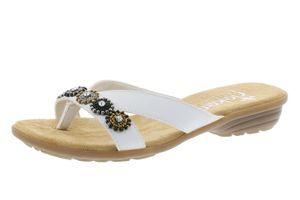 Rieker V3409-80 Schuhe Damen Zehentrenner Pantoletten Clogs, Größe:40 EU, Farbe:Weiß