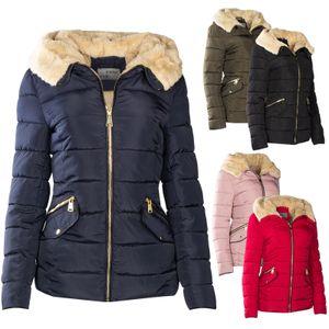Damen Winter SteppJacke Teddyfell Gefüttert, Farbe:Khaki, Größe:S