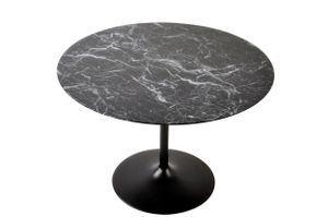 SalesFever Esstisch rund Ø 110 cm | Tischplatte MDF Marmoroptik | Gestell Metall | B 110 x T 110 x H 75 cm | schwarz