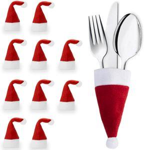 Urhome® Bestecktaschen aus Filz als Tischdekoration für Weihnachten   Weihnachtsdeko Besteckhalter für Tisch   Besteckbeutel Besteckhüllen Deko Serviettentasche 10er Set