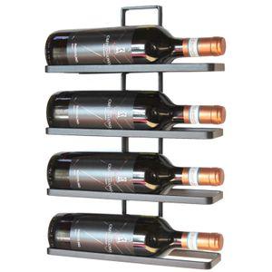 DanDiBo Weinregal aus Metall in Schwarz für die Wandmontage 4-Wine erweiterbar Flaschenständer Flaschenregal Flaschenhalter