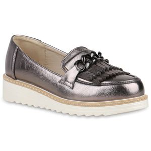 Mytrendshoe Damen Slippers Plateauschuhe Fransen Ketten Nieten Strass Schuhe 821731, Farbe: Grau Metallic, Größe: 36