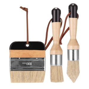 3 Stueck Kreidefarbe Pinsel Wachsfarbe Pinsel Borste Schablonenbuersten Holzmoebel Home Wandpinsel Farbe Borste Pinsel