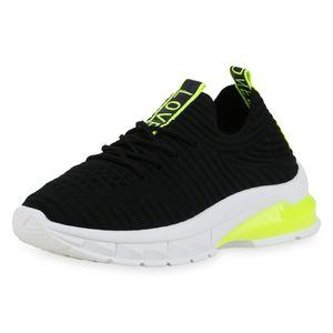 Mytrendshoe Damen Plateau Sneaker Strick Turnschuhe Neon Print Freizeitschuhe 832968, Farbe: Schwarz Neon Gelb, Größe: 38