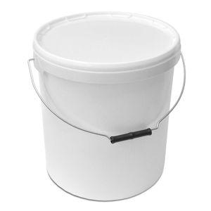 plasteo 2 Stück 20 Liter Kunststoffeimer mit Deckel, Luft- und wasserdicht, restlos entleerbar