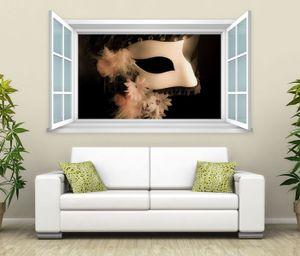 3D Wandtattoo Fenster Gesichtsmaske Retro Wand Aufkleber Wanddurchbruch Wandbild Wohnzimmer 11BD1068, Wandbild Größe F:ca. 140cmx82cm