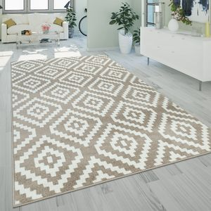 Teppich Beige Weiß Wohnzimmer Flauschig Ethno Rauten Design Robust Kurzflor, Grösse:120x170 cm
