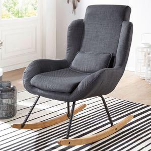 WOHNLING Schaukelstuhl CAPRI Anthrazit Design Relaxsessel 75 x 110 x 88,5 cm   Sessel Stoff / Holz   Schwingsessel mit Gestell   Polster Relaxstuhl Schaukelsessel   Moderner Schwingstuhl   Hochlehner
