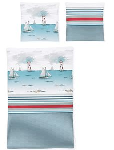 Irisette Bettwäsche Seersucker Calypso 8328-20 maritim 100% Baumwolle bügelfrei, GRÖßENAUSWAHL:135x200 cm + 80x80 cm