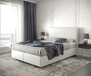 Bett Dream-Well Kunstleder Weiß 140x200 cm mit Matratze und Topper