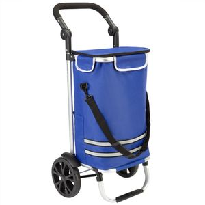 Monzana 2in1 Einkaufstrolley 56L bis 50 kg klappbar abnehmbare Tasche Handwagen Einkaufswagen Einkaufshilfe Roller, Farbe:blau