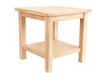 Teak Beistelltisch Blumenhocker Balkon Terrasse Teak-Holz natur 50x50cm