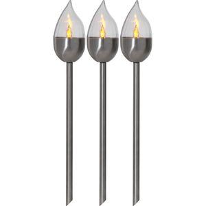 LED-Solar-Fackel 'Olympus', Edelstahl, 3er Set,