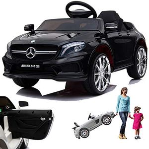 Mercedes GLA45 AMG GLA 45 12V Elektro Kinderauto elektrisch Kinder Elektroauto mit Tür Schwarz