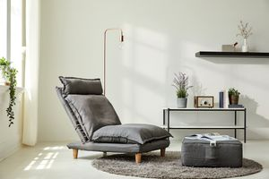 SalesFever Sessel mit Hocker | verstellbar | Textilbezug aus Webstoff | Beine Eukalyptusholz | B 64 x T 81 x H 80 cm | grau