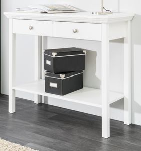 Konsolentisch Beistelltisch weiß Landhaus Stil als Ablagetisch oder Schreibtisch 90 x 75 x 35 cm Landwood