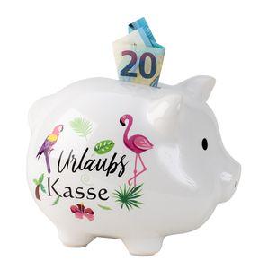 Sparschwein Urlaubskasse Holiday Fund Weiß mit Aufdruck 14 cm x 18 cm