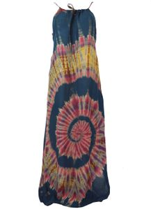 Batik Hippiekleid, Damen, Mehrfarbig, Viskose, Lange & Midi-Kleider