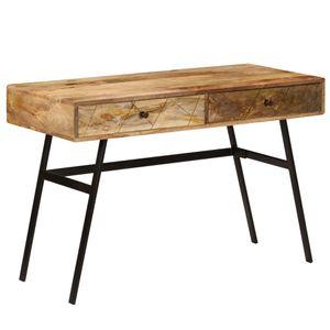 yocmall Schreibtisch mit Schubladen Massivholz Mango 110×50×76 cm