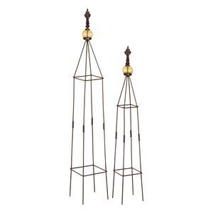 1PLUS Obelisken Set 'Lambert', 2 Stück, Höhe: 80,5 und 100 cm, in versch. Farben, Farbe:Braun