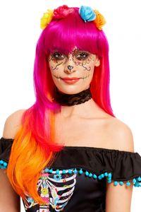 Pinke Tag der Toten Perücke mit Blumen als Kostümzubehör für Halloween und Karneval