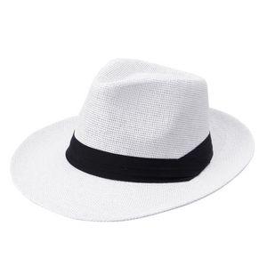 Mode Maenner Frauen Panama Sun Stroh Hut Kontrast Ribbon eingeklemmter Krone gerollt Trim Strand Cap