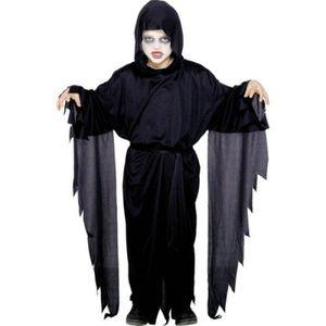 Geist Kinder-Kostüm Dämon-Verkleidung Sensen-Mann Gespenster-Umhang Gewand Schwarz Erz-Engel Teufel Halloween Scream Sensenmann