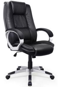 Bürostuhl Schreibtischstuhl Chefsessel, Ergonomischer Drehstuhl, Kunstlederstuhl mit Hoher Rückenlehne, Schwarz