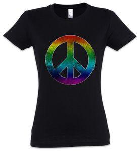 Urban Backwoods Rainbow Peace Symbol Damen T-Shirt, Größe:2XL