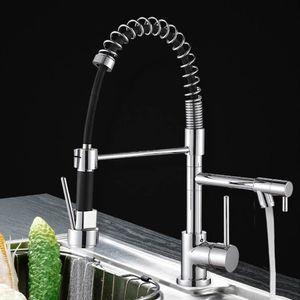 Wasserhahn | Küchenarmatur mit Brause abnehmbarer| Kaltes und Heißes Wasser Vorhanden | 360° Drehbarer silber