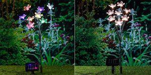 LED-Solar-Blumenstecker, Gartenstecker mit Solar warm-weiß