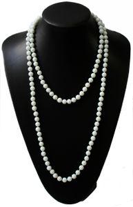 Z257 lange Perlenkette Kette Halskette Wickelkette Schneeweiß