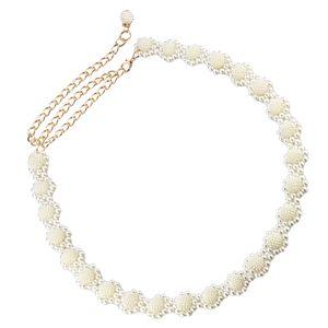 Damen Taille Kette Kettengürtel Gürtel Taillengürtel Kleid Dekoration Perle wie beschrieben