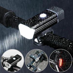 1200mAh LED Fahrradlicht Set USB Wiederaufladbare Fahrradbeleuchtung Fahrad Scheinwerfer
