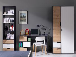 Mirjan24 Jugendzimmer-Set Iwa II, Schreibtisch, Kleiderschrank, Regal, Computertisch, Modern Design (Farbe: Graphit / Aristan Eiche + Weiß)