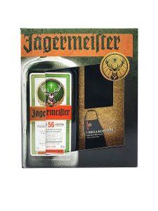 Jägermeister Geschenkset - Jägermeister 0,7l 700ml (35% Vol) + Grillschürze in schwarz- [Enthält Sulfite]