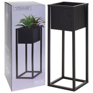 Home&Styling Blumentopf mit Ständer Metall Schwarz 60 cm